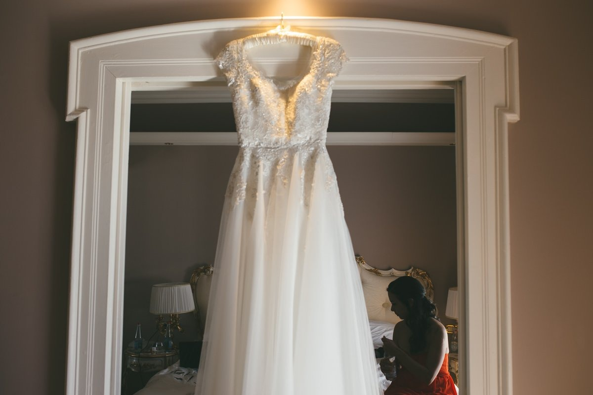 Romantic Lake Como wedding photographer. Bridal gown. Grand Hotel Tremezzo wedding photographer