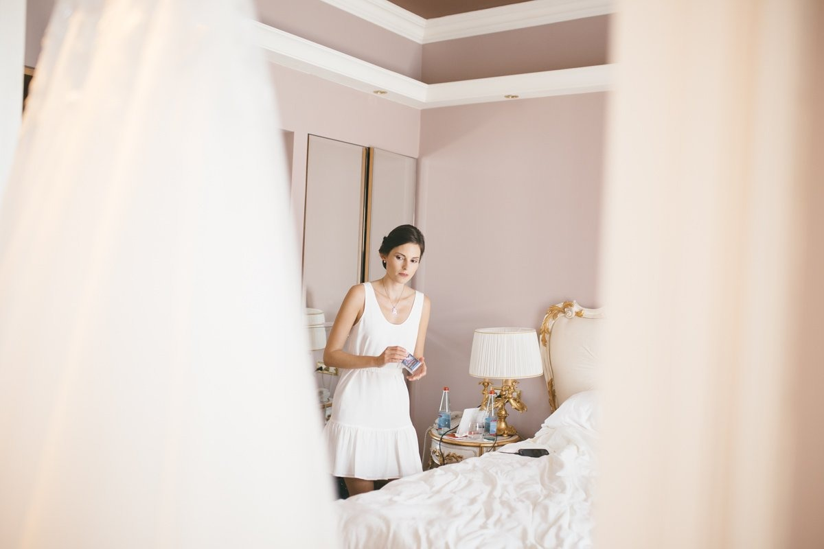 Romantic Lake Como wedding. Bride is getting ready. Grand Hotel Tremezzo destination wedding photographer