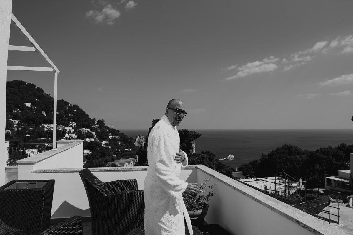 Destination wedding photographer Capri, Amalfi Coast. Groom in private villa in Amalfi Coast