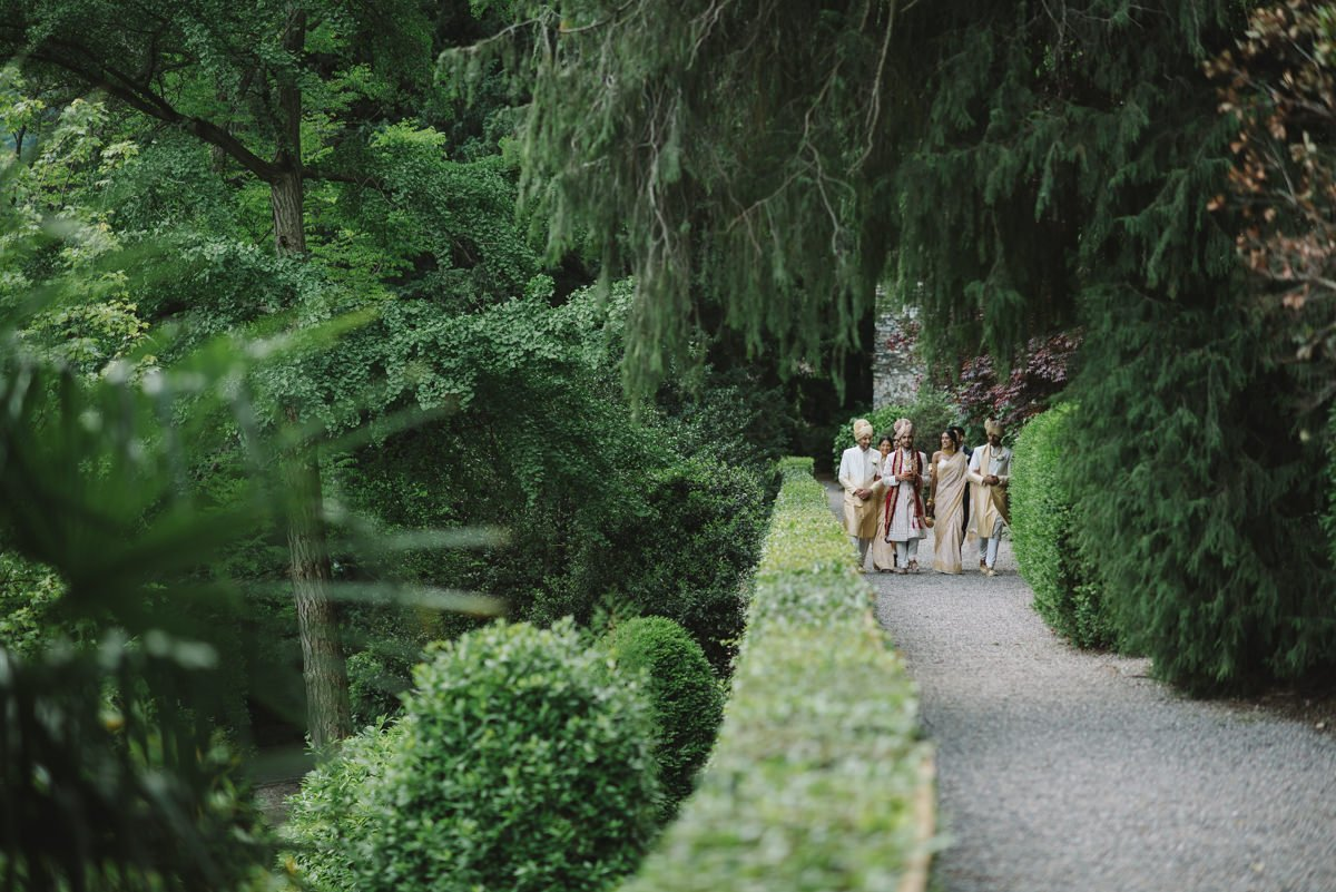 Luxury Indian wedding in Italy, wedding in Lake Como. Bride and Groom in private villa