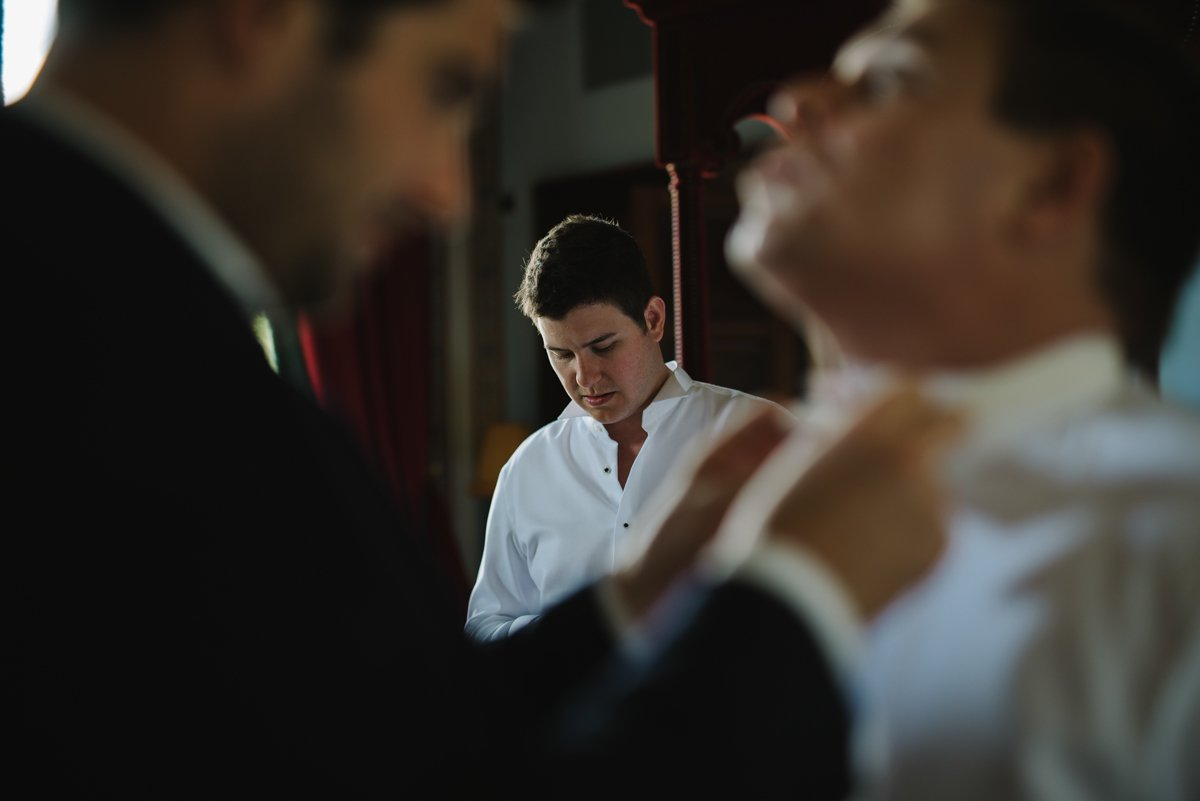 Destination Wedding in Tuscany. Groom is getting ready