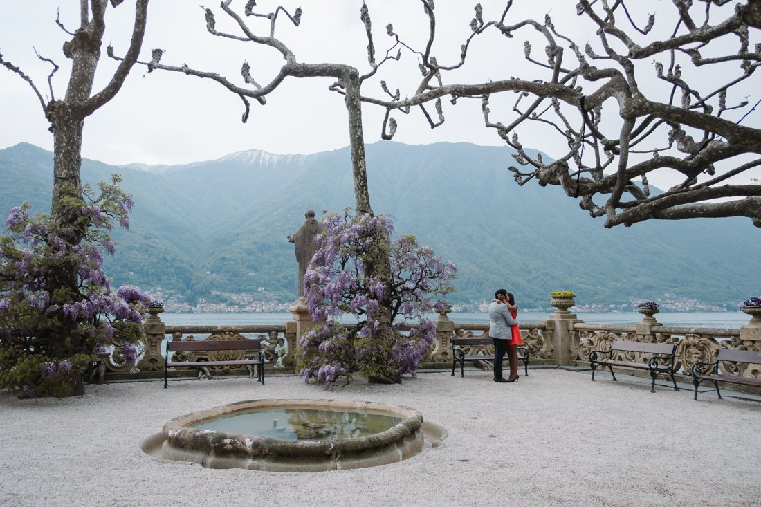 Indian wedding proposal in Villa Balbianello, Lake Como. Bride and groom to be