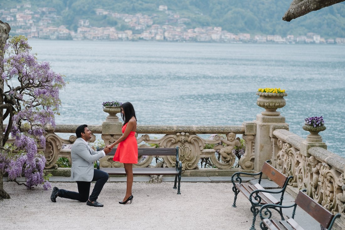 Indian wedding proposal photographer in Villa Balbianello, Lake Como. The marriage proposal