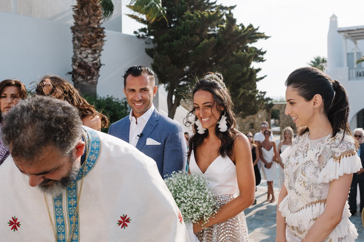 Destination wedding photographer in Mykonos. Orthodox ceremony