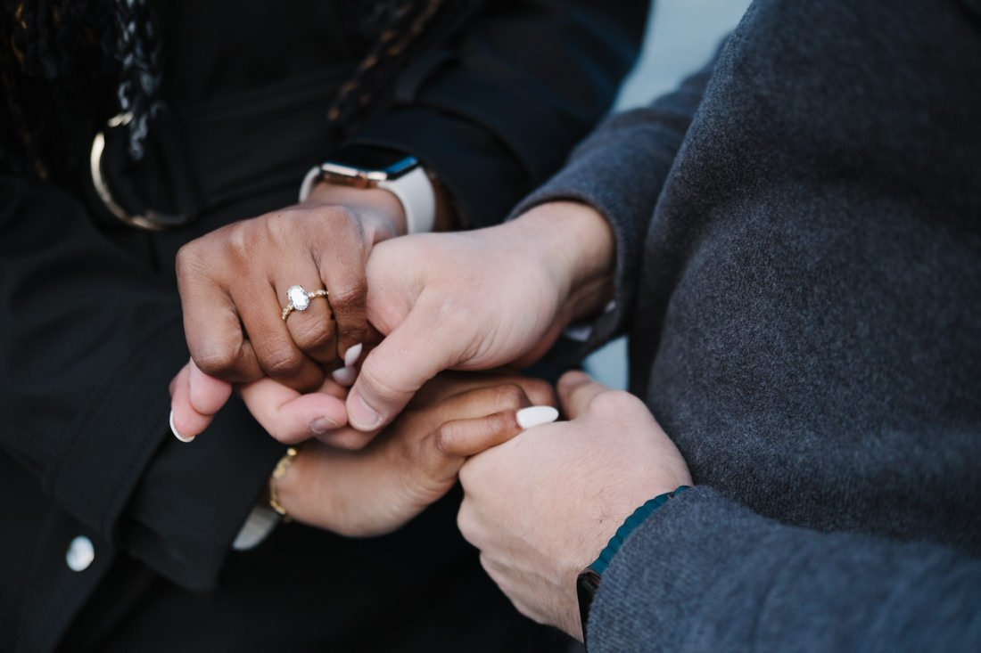 Lake Como romantic wedding proposal. hands