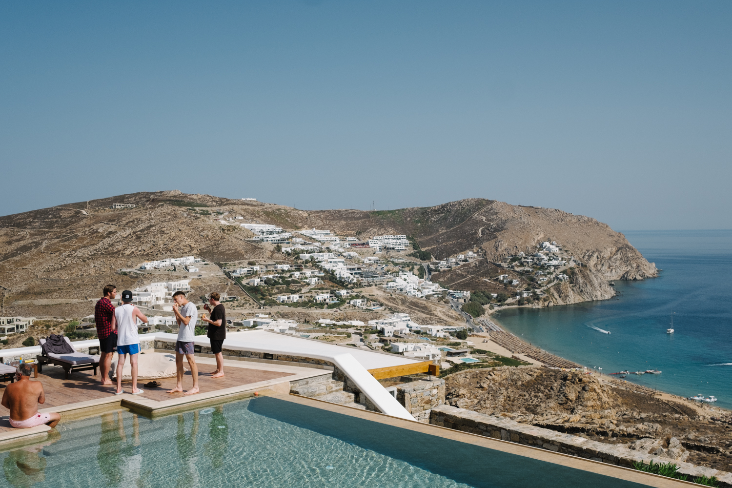 Destination wedding photographer Greece. Private villa in Mykonos
