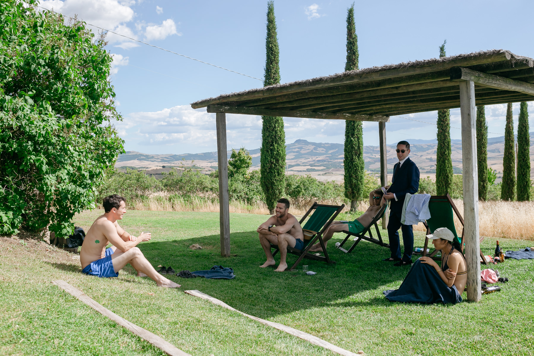 relaxing in Tuscany before the wedding