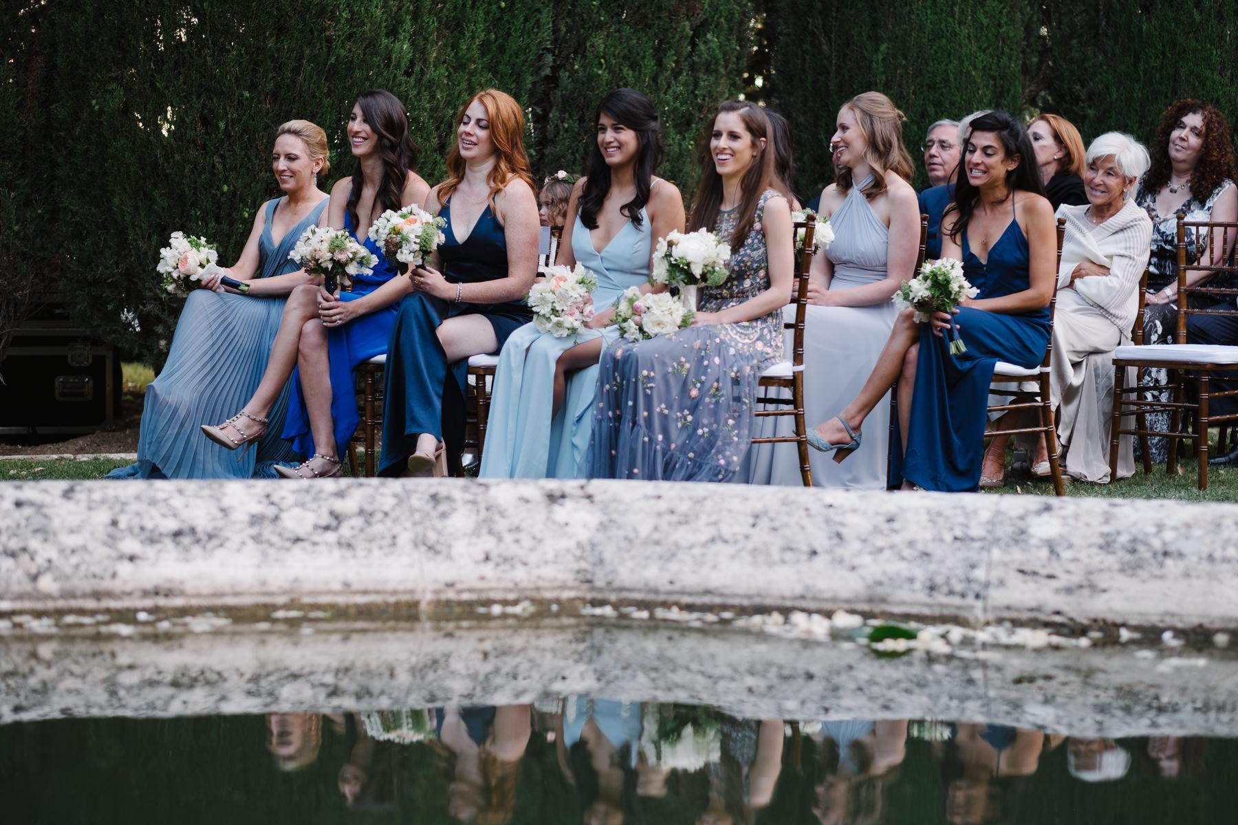bridemades attending the wedding at la foce