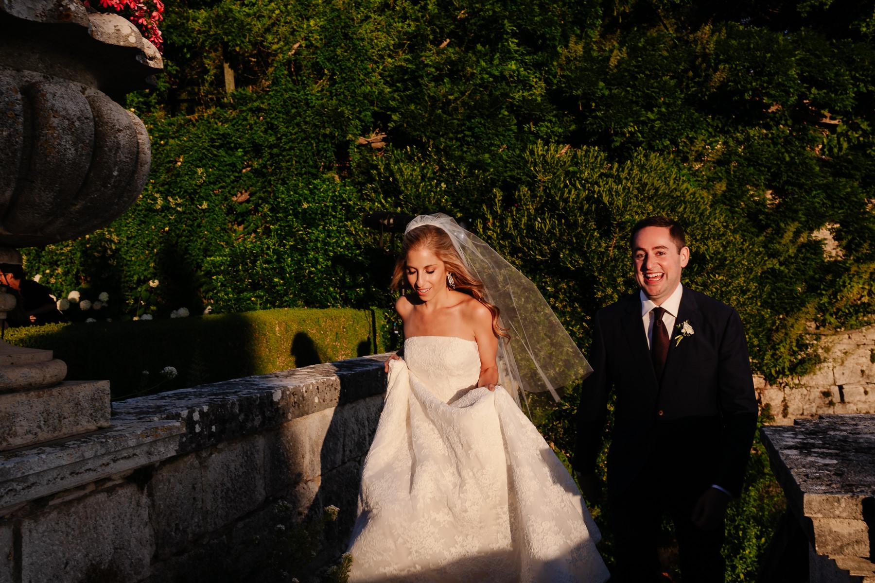 great light at a wedding at la Foce Tuscany