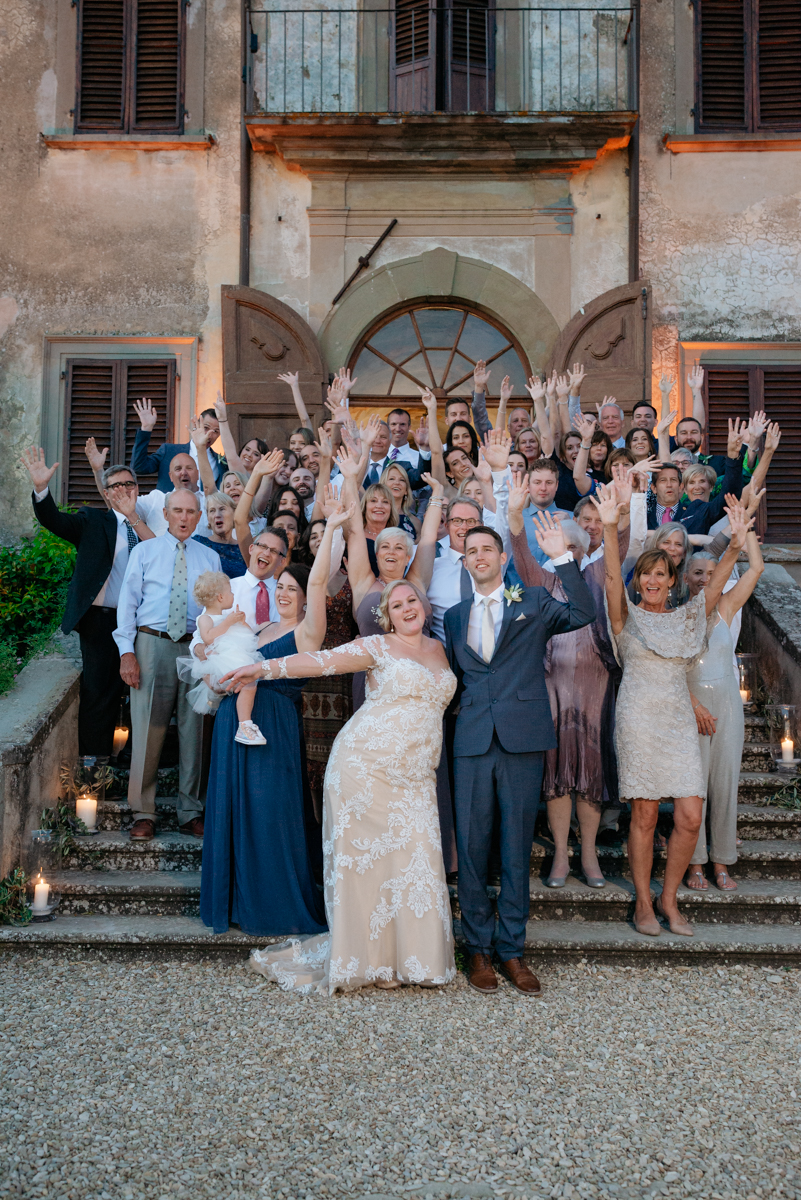 group pictures at a wedding in tuscany