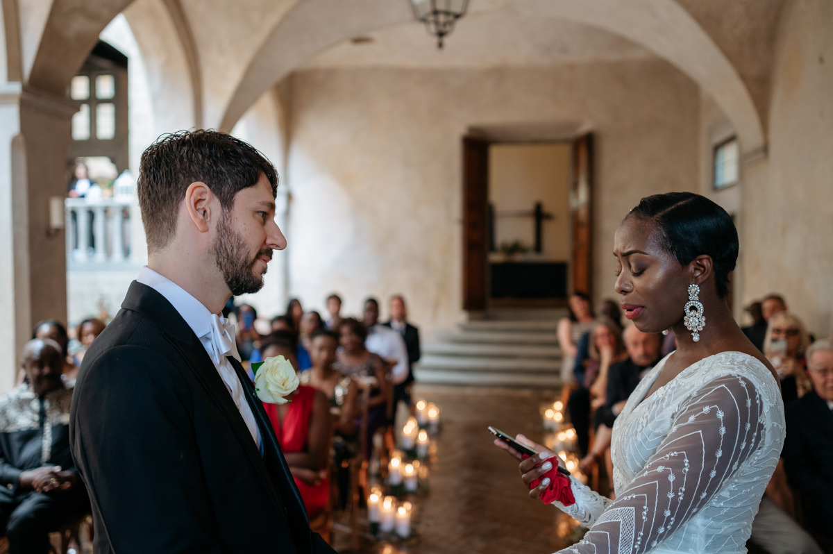 Intimate wedding at Castello di Montegufoni in Tuscany