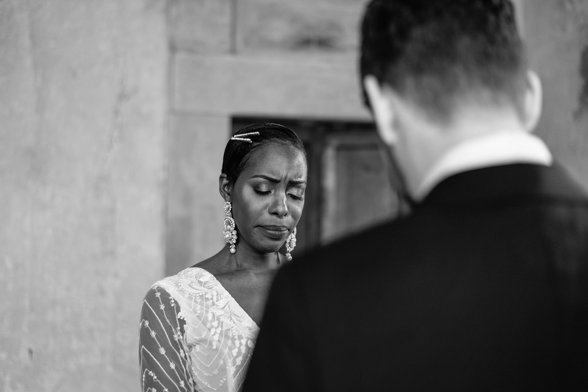 the bride cries during her vows