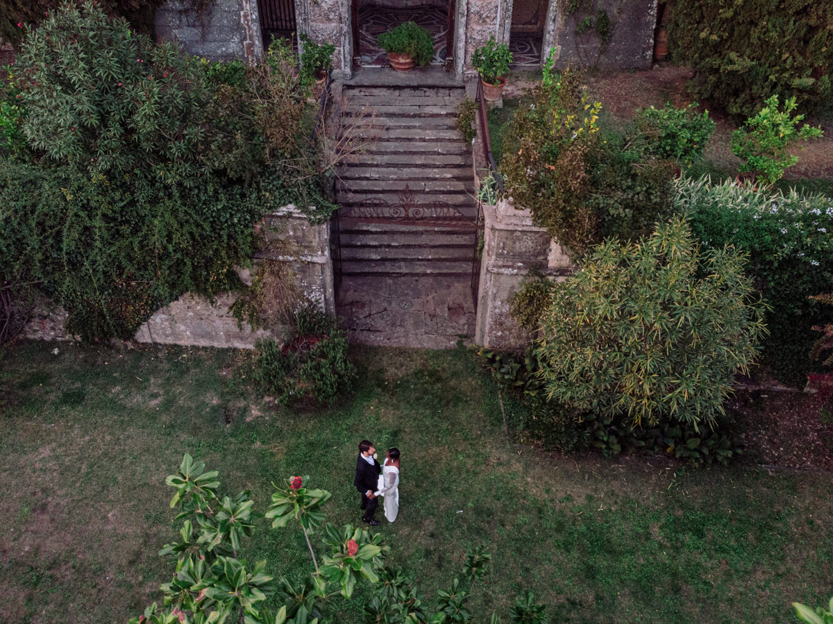 drone shots at a wedding in italy