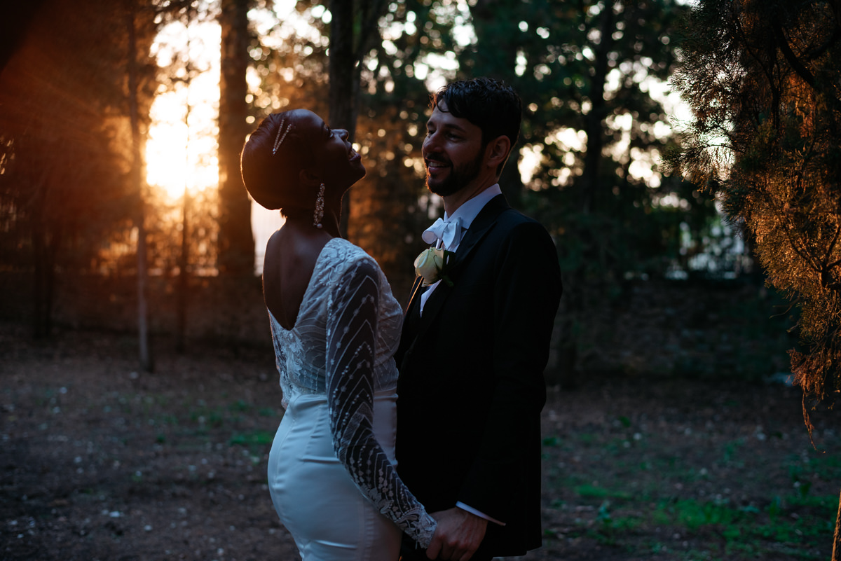 sunset wedding photos in tuscany