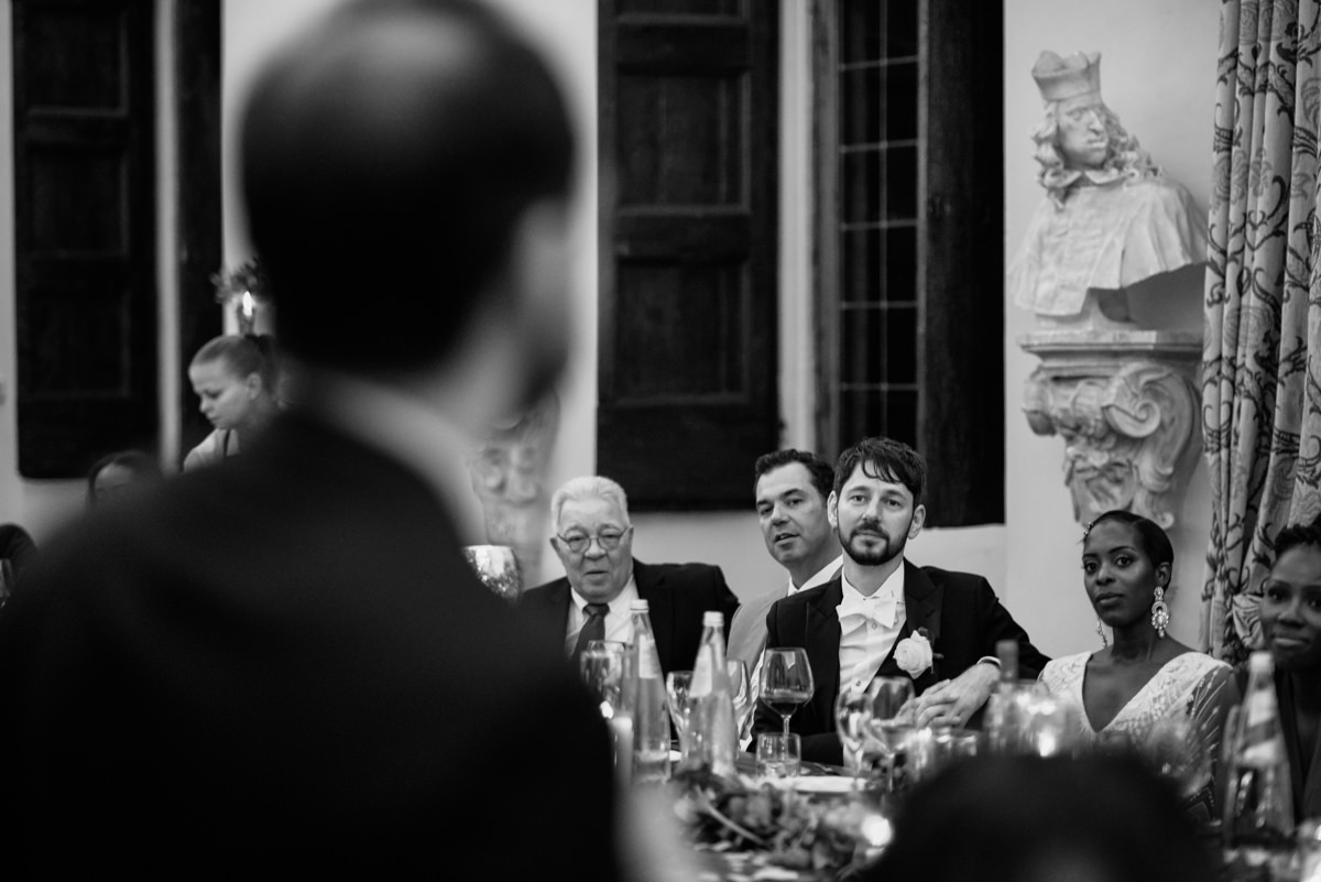 speeches at the wedding dinner at the castle