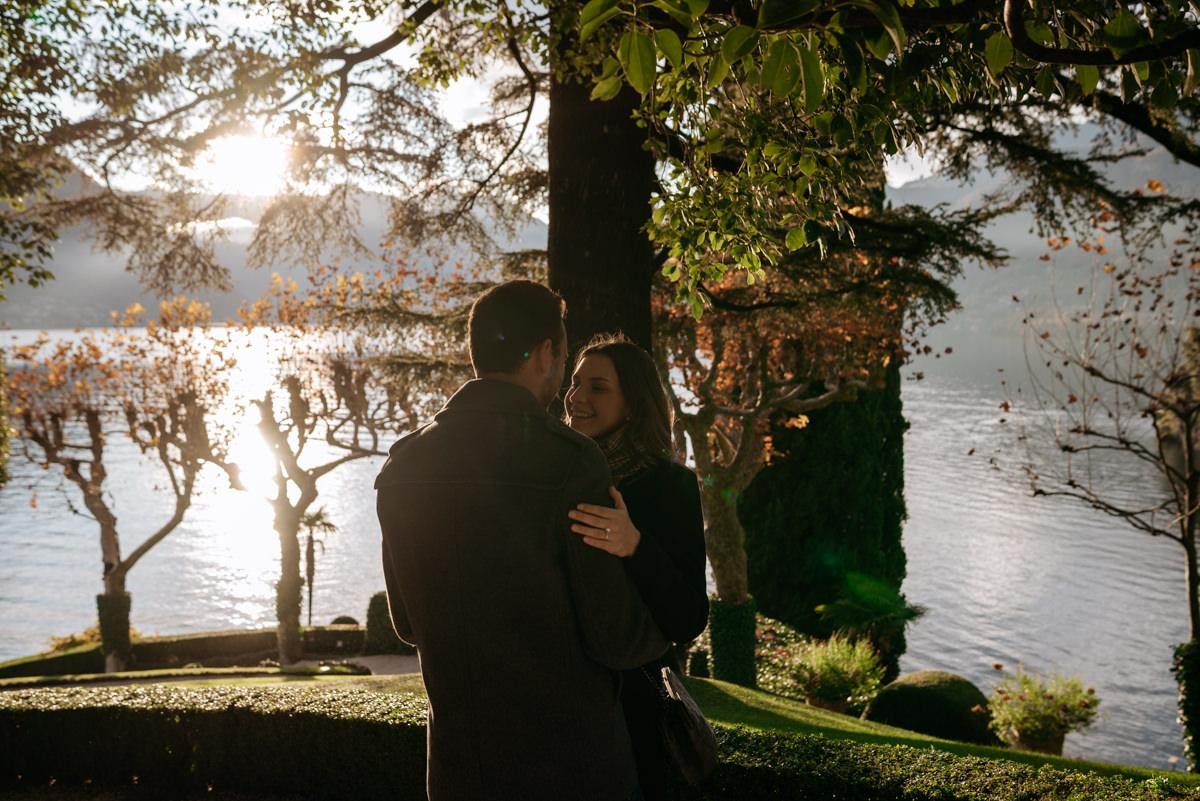 couple shooting at sunset Lake Como