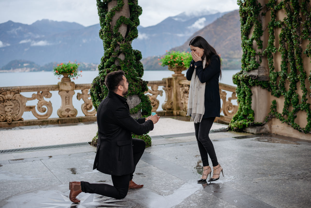 emotional marriage proposal in Lake Como italy