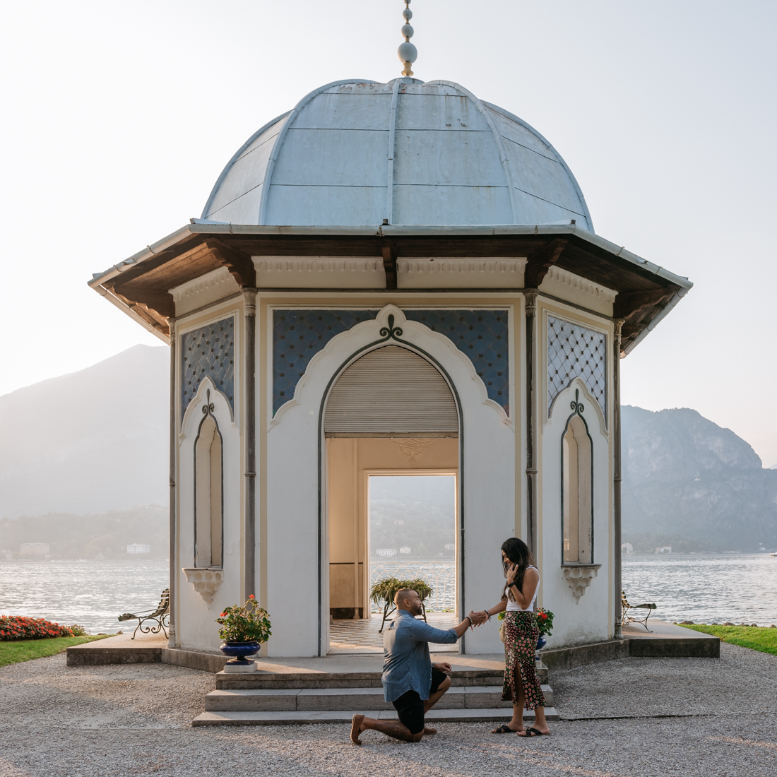 Lake Como wedding proposal spot